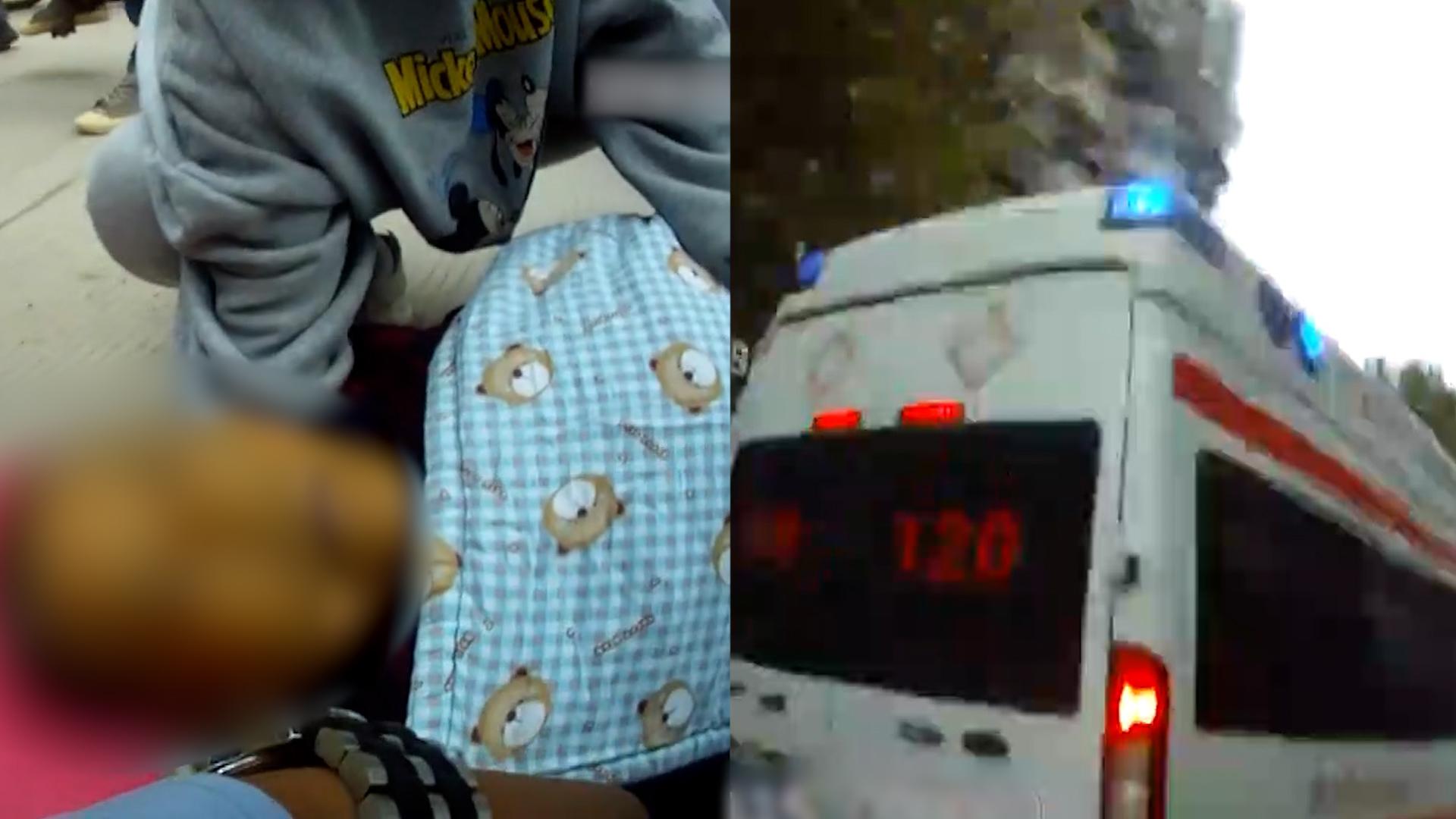 老人街头晕倒交警飞奔相救:戴手套、盖毯子、送医找家人