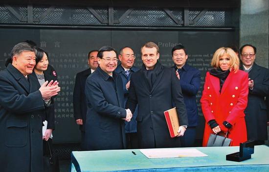 胡和平会见法国总统马克龙