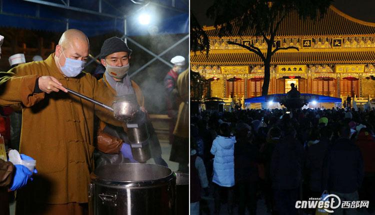 大兴善寺10口大锅通宵熬腊八粥市民凌晨3点多就去排队