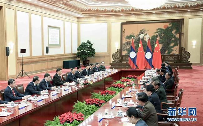 习近平同老挝人民革命党中央总书记、国家主席本扬举行