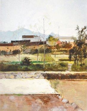 油画作品:小村庄