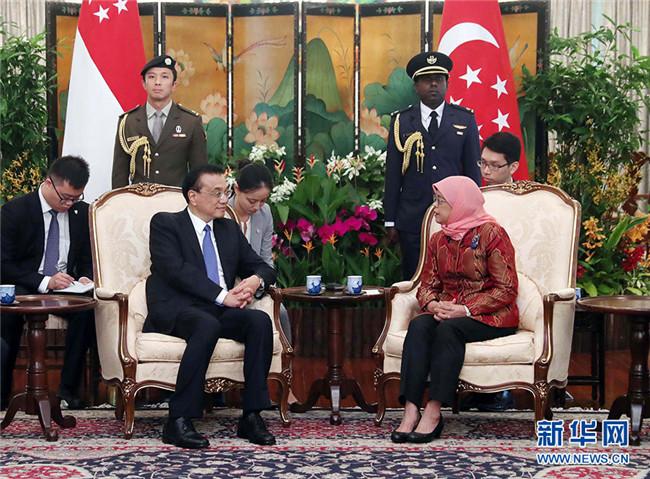 李克强会见新加坡总统哈莉玛