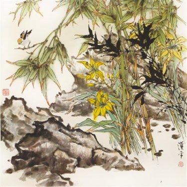 中国画《听雨观石》