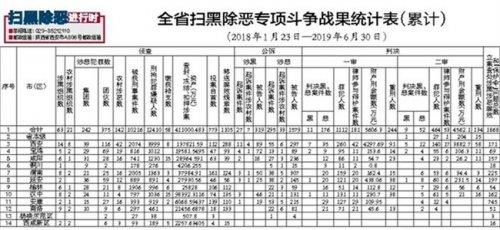 陕西省扫黑除恶专项斗争战果统计表