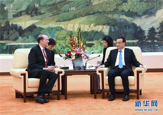 李克强会见世界银行行长:共同促进全球发展事业