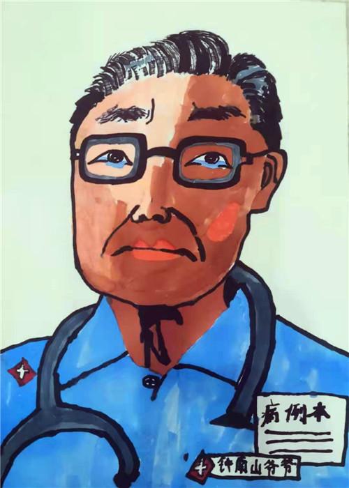 把爱画进画里 西安市高陵区一名小门生用画笔向一线医护事情者们致敬