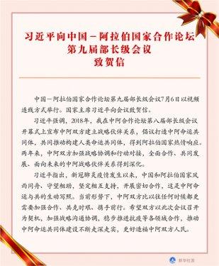 习近平向中阿合作论坛第九届部长级会